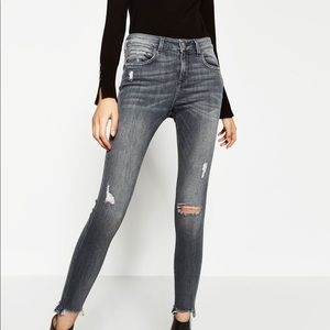 High waisted Zara  distressed skinny jeans